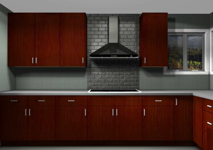IKEA kitchen cabinets in red brown