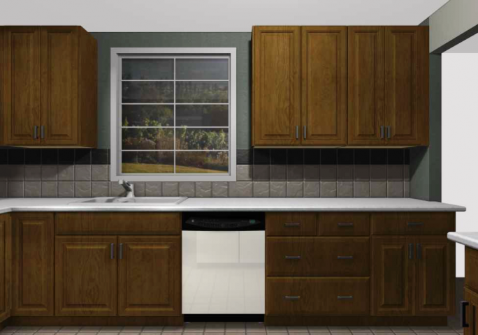Updated IKEA kitchen with brown cabinets