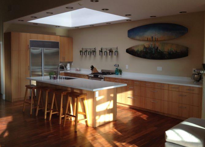 Sunny kitchen with custom doors from SemiHandMade and IKEA cabinets