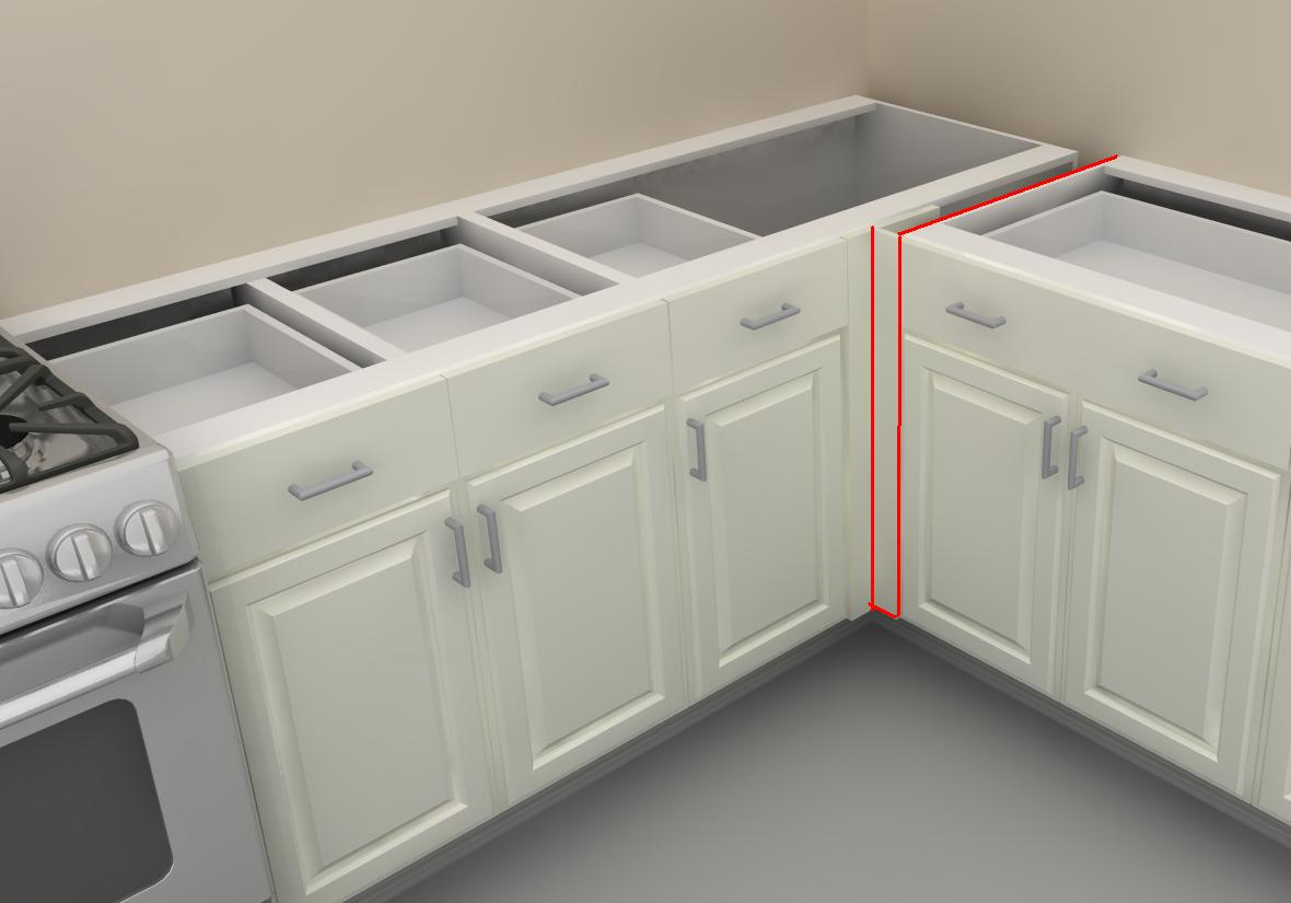 How to use ikea panels to add support to your counter - Ikea corner cabinet door installation ...