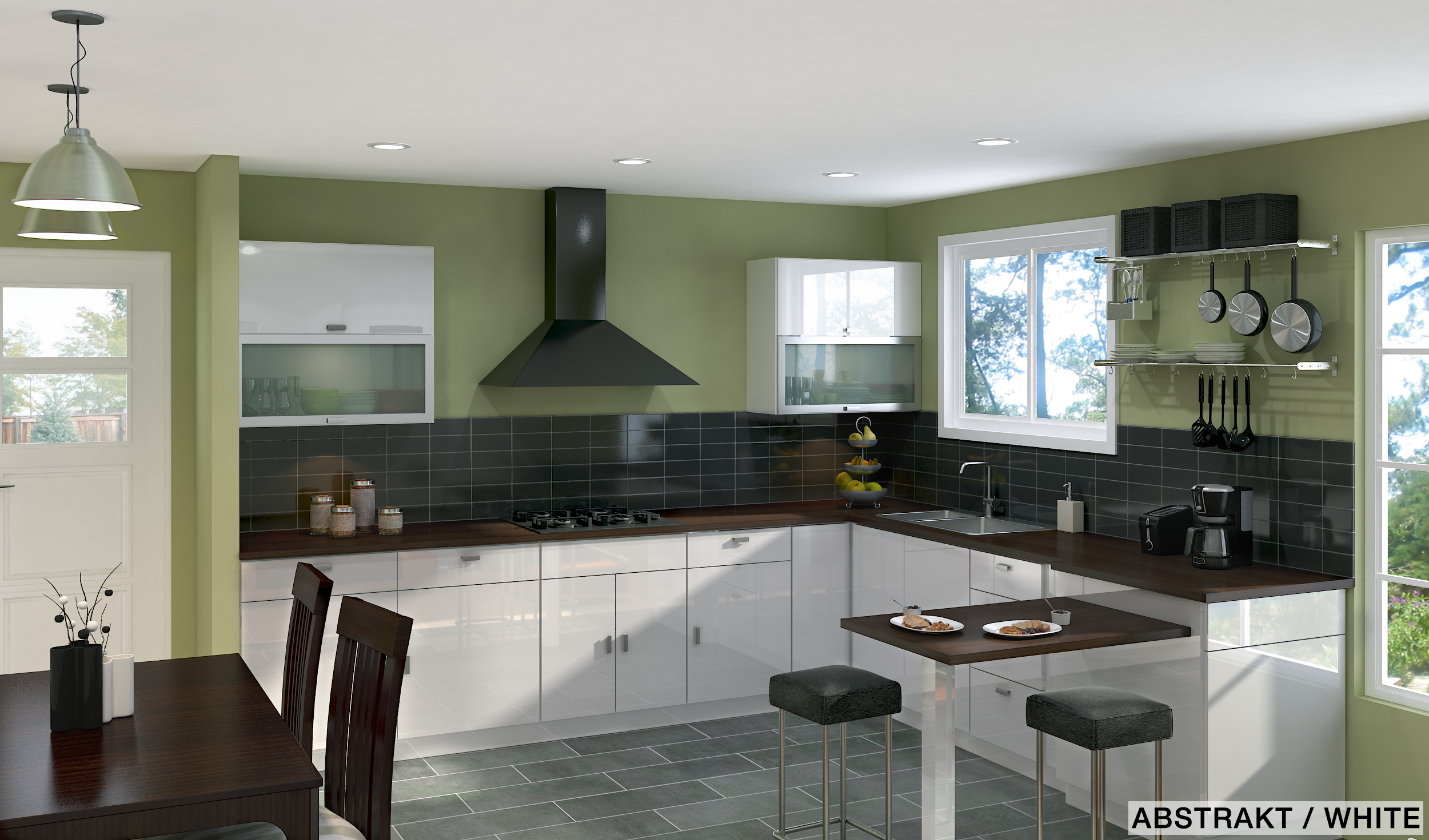 Designer tips pros and cons of an u shaped ikea kitchen for Green and white kitchen designs