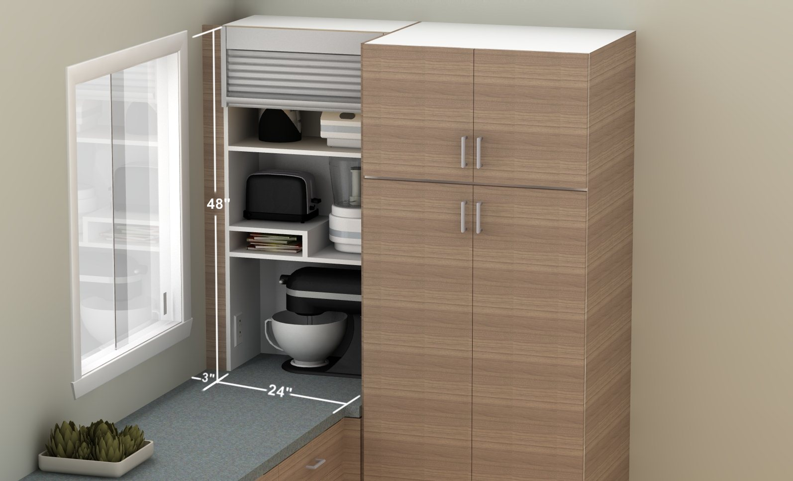 How to hide smaller appliances in your ikea kitchen for Ikea storage cabinets kitchen