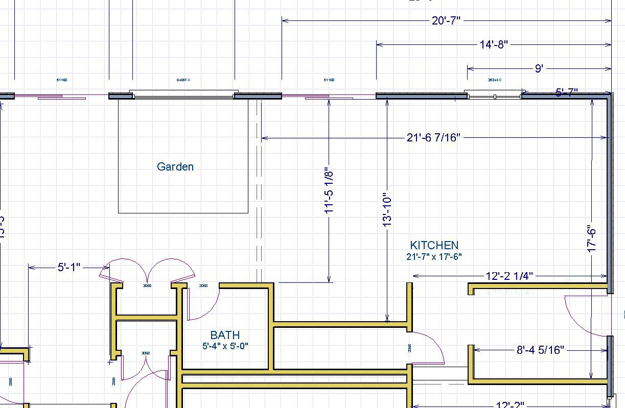 kitchen dimensions from an older plan were sent