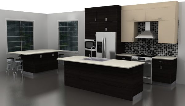 Our designers included stacked cabinets to take advantage of the storage space provided by the high ceilings.
