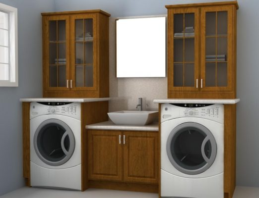 A laundry room doesn't have to be tucked away. You can make it look pretty at an affordable price with IKEA cabinets.