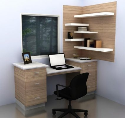This is another take on high corner office shelves.