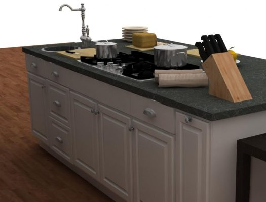 This useful island is a complete secondary work area with a cooktop and a secondary sink. Door style used: LIDINGO white.