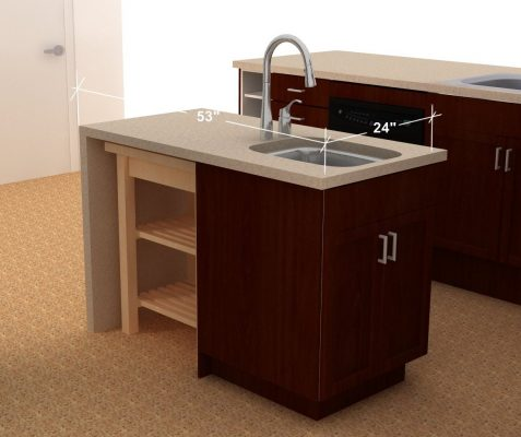 A BEKVAM kitchen cart fits under the counter easily.