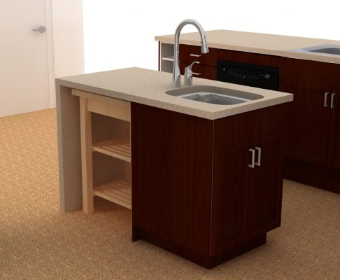 This versatile kitchen island was created with an IKEA cart and a RAMSJO red-brown cabinet.