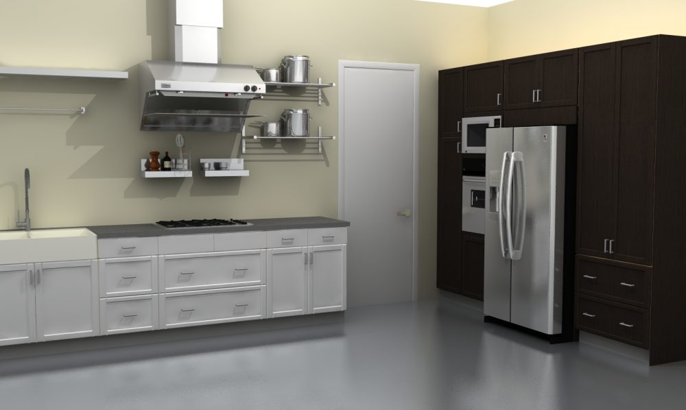 GRUNDTAL stainless steel shelves and IKEA appliances add to the modern, industrial feel.