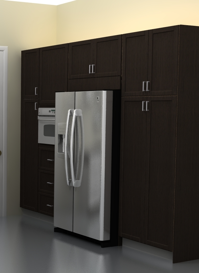 ADEL cover panels and tall cabinets frame the fridge nicely.