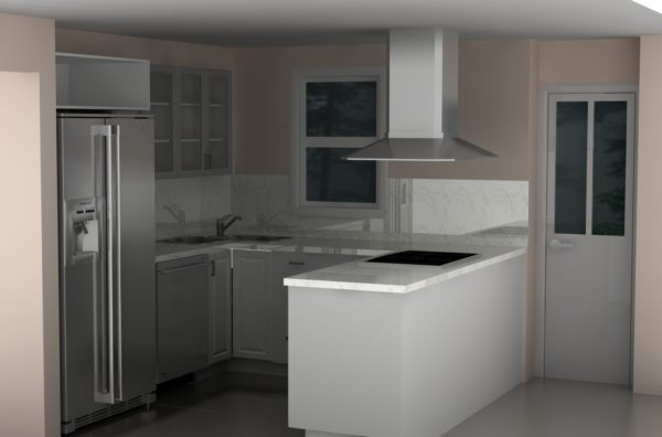 A small but very functional IKEA kitchen in LIDINGO white.