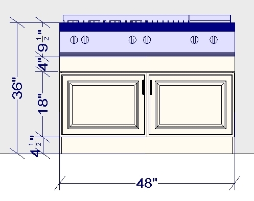 custom ikea cabinet for front-controlled gas cooktop