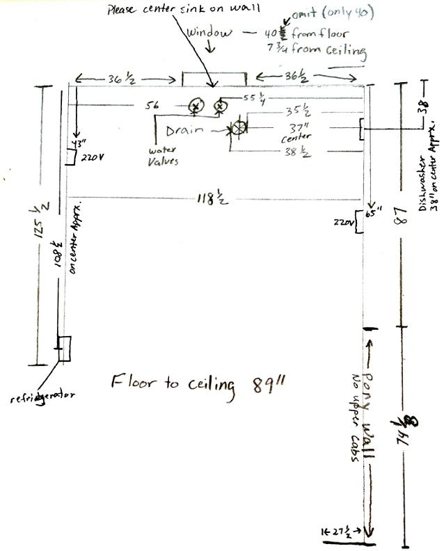 Our customer sent us a sketch of her kitchen walls with measurements and hinted appliance and outlet locations.