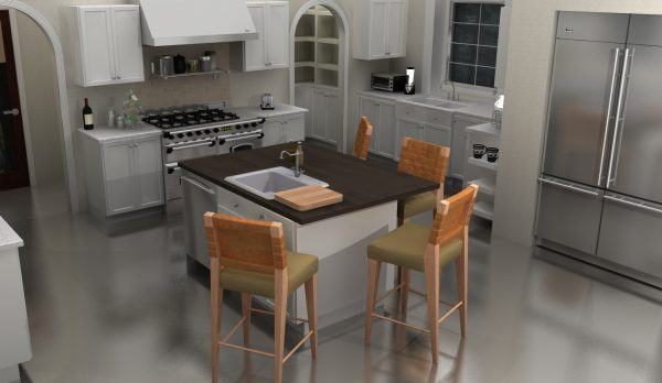 The accent countertop used at the island keeps this kitchen from looking dull.
