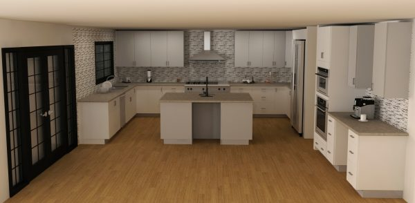 This is a large kitchen with everything a chef can dream of. It even has a coffee bar! Door style used: ABSTRAKT white and gray.