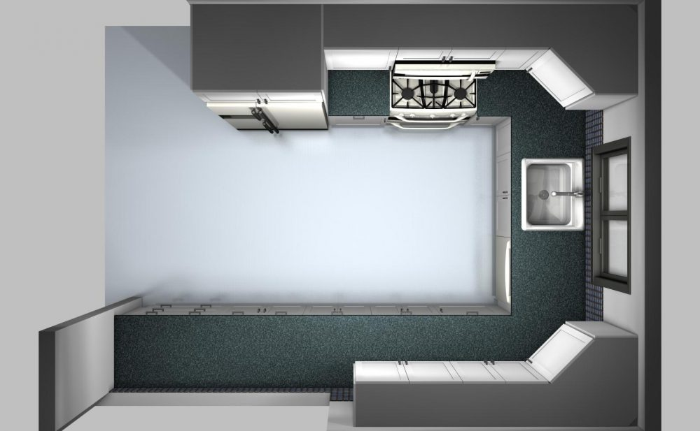 This U-shaped kitchen has a functional distribution and plenty of space for a working surface at each side.