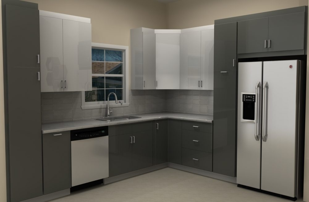 The fridge is now closer to the sink with a narrow pull-out pantry for an increased functionality.