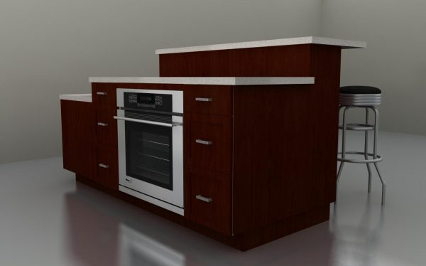 From this spot, you can see the oven and the drawers used for storage. Everything is comfortably close!