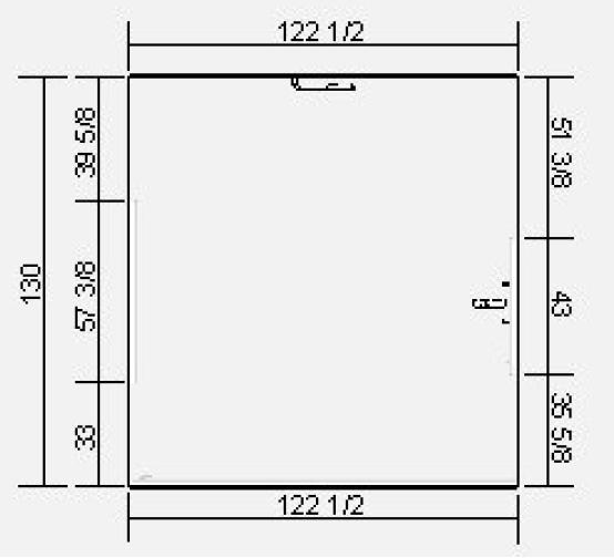 The space for the kitchen had a square shape with a window and a half-height wall facing the family room.