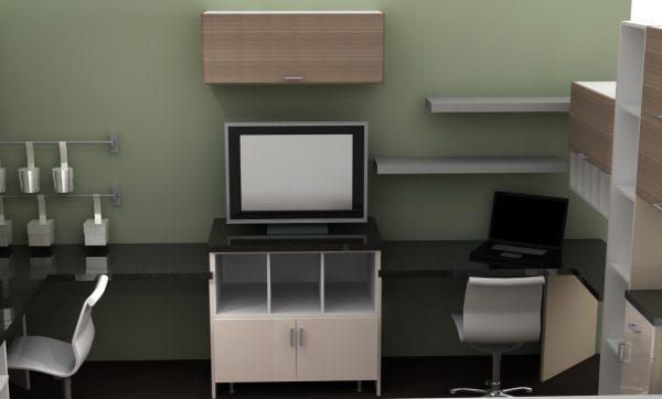 home office floating shelves tv screen IKEA cabinets