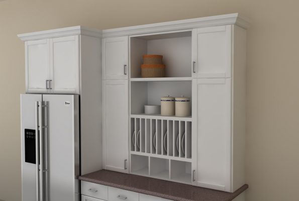 This hutch can be used for flat and silverware storage, as a mini pantry and as a display area. So neat!