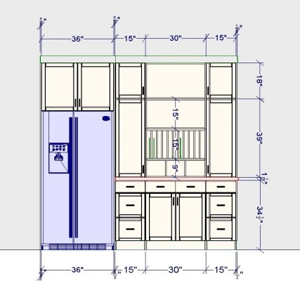 This drawing shows the specific dimensions of each section of the hutch.