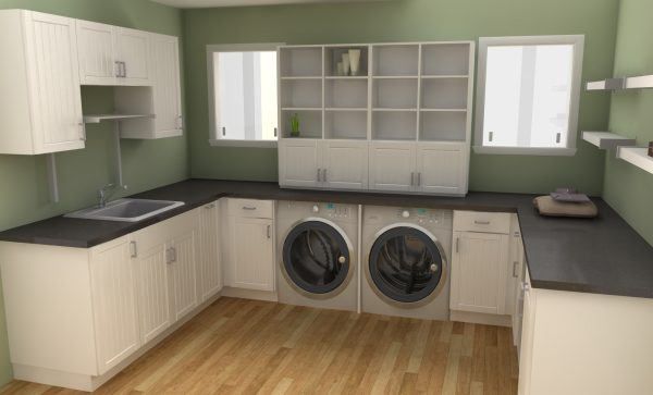 This IKEA laundry room is perfectly balanced and has all the essentials. Door fronts used: ADEL off-white.
