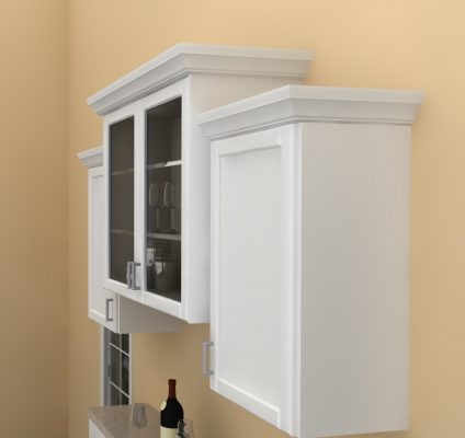 Wall cabinets were finished with crown molding. Check out your local lumber yard and Benjamin Moore's Paper Mache paint for a perfect color match.