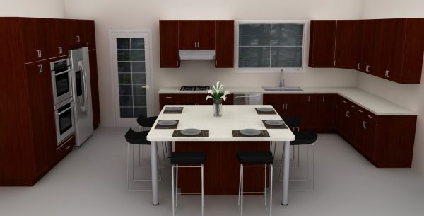 A large IKEA kitchen island can also be turned into a dining room table.