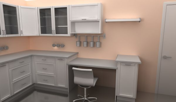 The second desk area is a mirror image of the first and it includes GRUNDTAL containers and wall organizers as well.