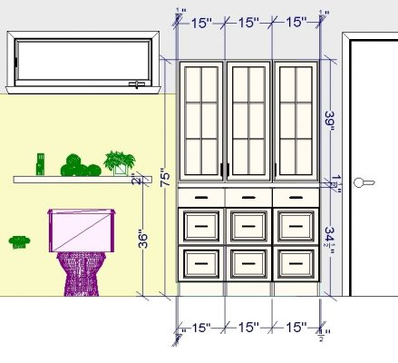 """The total width of this linen closet is 46"""" and the total height is 75""""."""