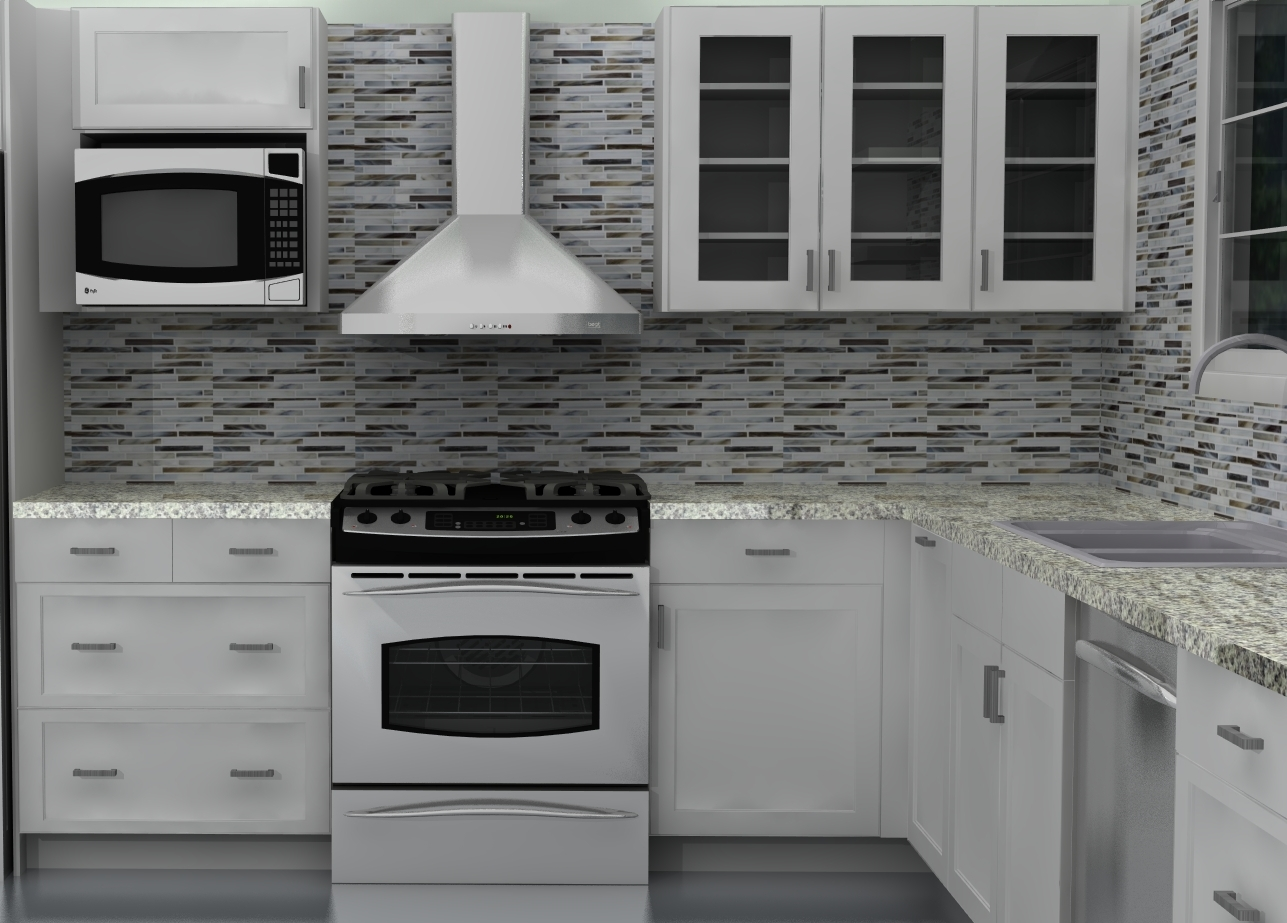 Fridge and range wall after ikea kitchen design for Ikea kitchen hood