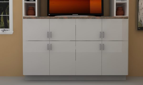 Stacked cabinets provide lots of storage and separated areas for cables, gaming consoles and more.