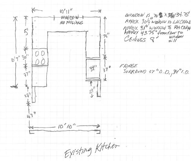 We received the sketch of the kitchen as it was with additional notes from the homeowners.