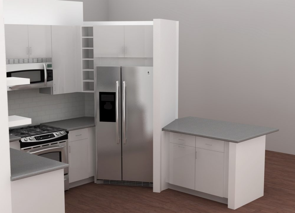 The fridge was surrounded by panels to make sure that there would be space to open the doors.