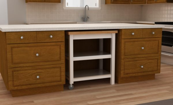 Tuck a kitchen cart under your island for an additional working surface.