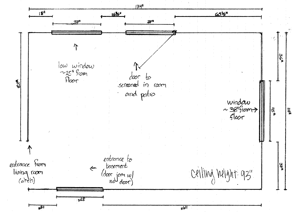 The kitchen measurements were sent to us in a drawn sketch.