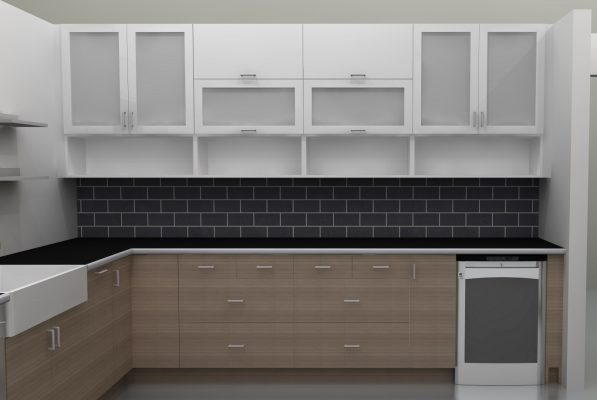 The old fridge wall now has lots of counter space and storage. The horizontal wall cabinets and the glass doors make this wall an ideal display area.