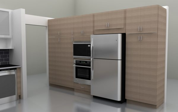 Having all tall cabinets and larger appliances gives a tremendous amount of storage space while keeping them clear from the main work areas.