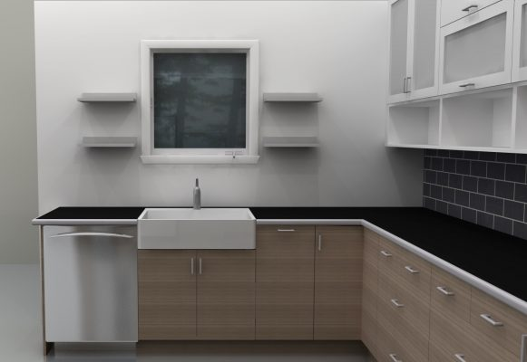 The dishwasher was moved to the left, where is easier to load it without interrupting other work areas.