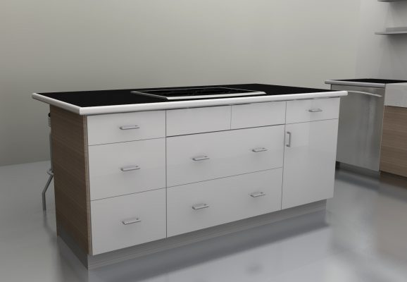The cooktop is now centered in the island and the counter overhang is behind the space to create an informal business area.
