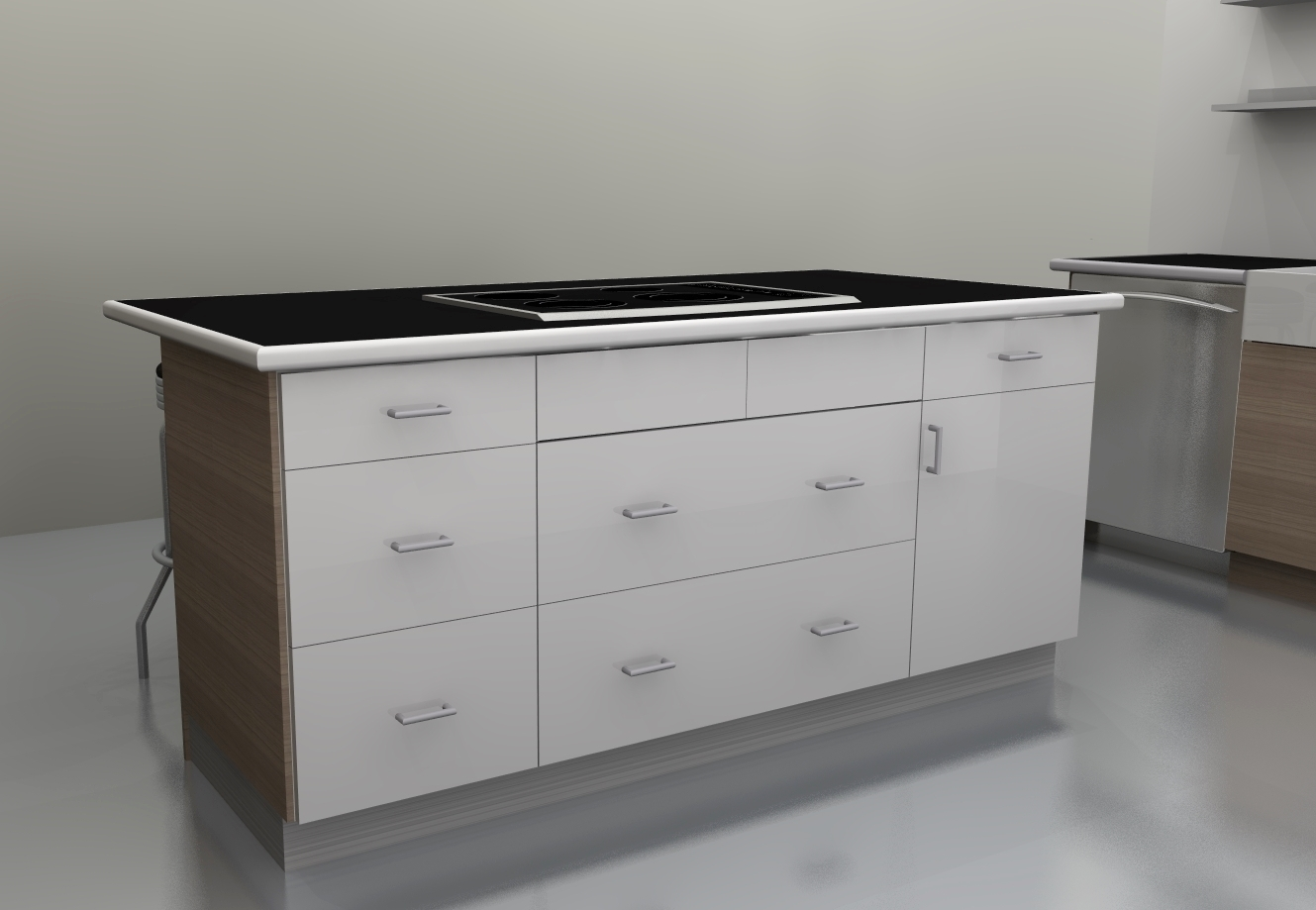 Ikea Mandal Chest Of Drawers ~ The cooktop is now centered in the island and the counter overhang is
