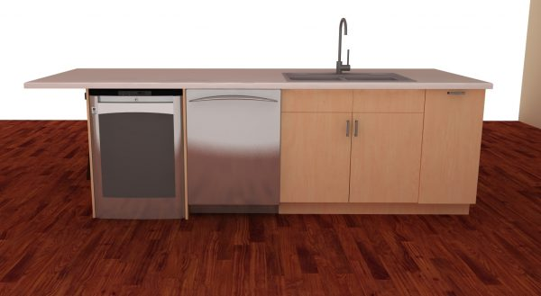 This long island has a sink, a dishwasher and enough space to serve as a cleaning hub.
