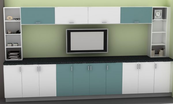 To achieve this two-toned look, we used APLAD cabinets in white and turquoise.