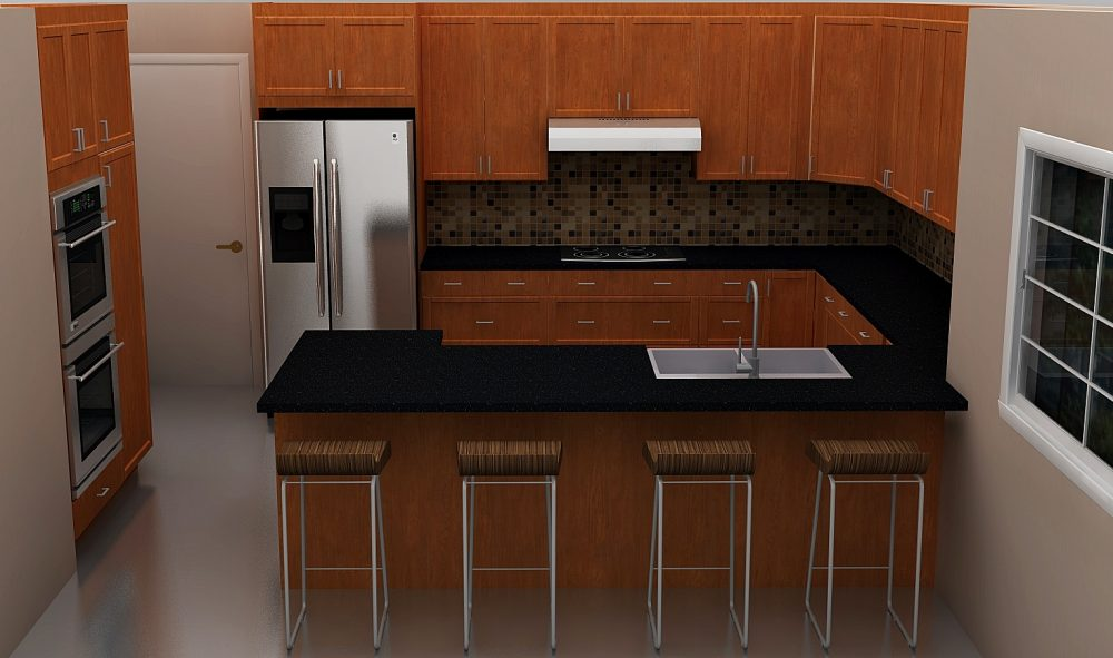 The new IKEA kitchen has a peninsula with two corner cabinets for plenty of storage and counter space.