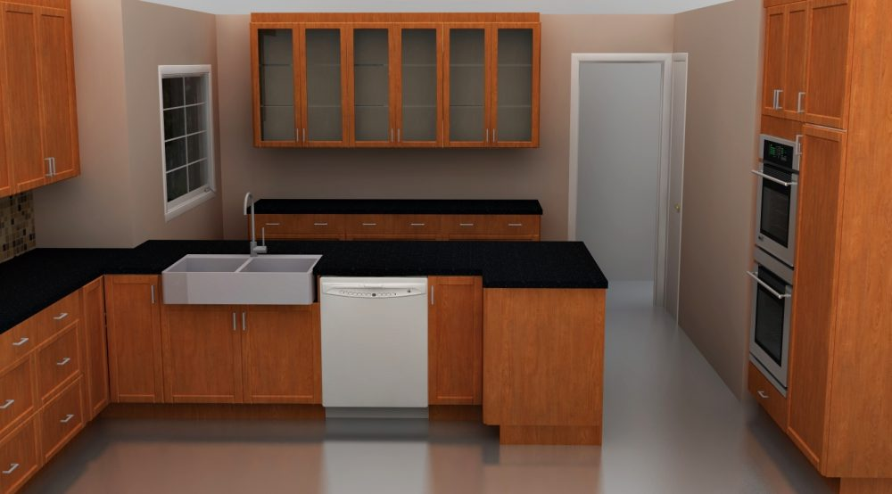 """IKEA Kitchen amenities that make a difference: a 36"""" DOMSJO apron front sink, glass doors and tall oven cabinets."""