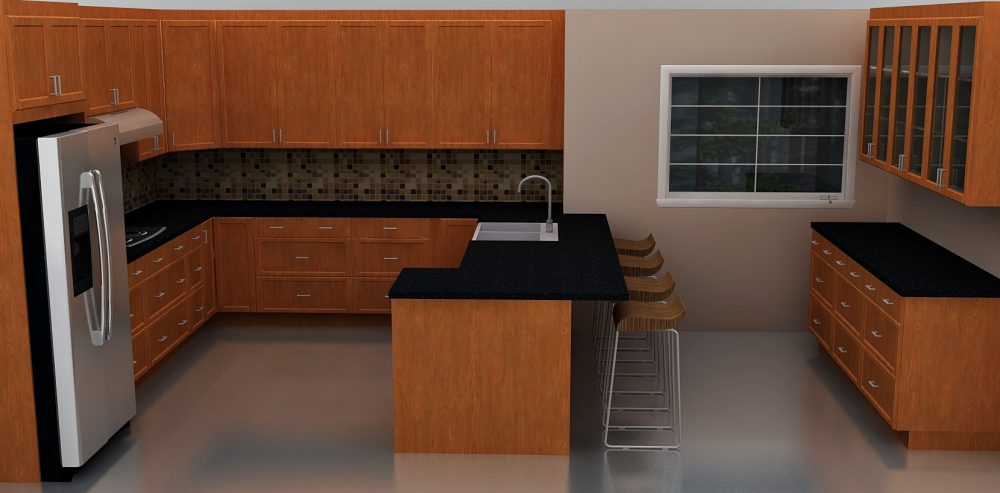 With lots of drawers and three corner cabinets, all kitchen items are easily accessible in this eat-in kitchen.