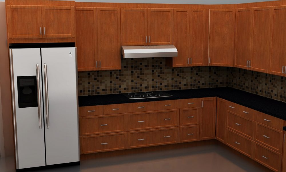 Upper cabinets at the fridge and range wall have a nice, trimmed finish at the ceiling.