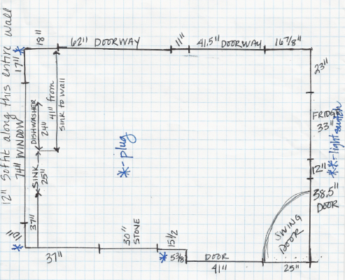 All measurements were carefully written down to ensure an accurate kitchen design.